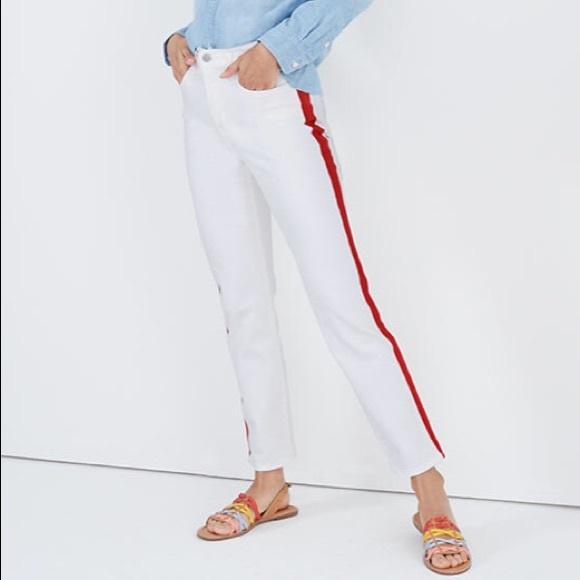 Madewell Denim - NWT Madewell Tuxedo Stripe High Rise White Denim